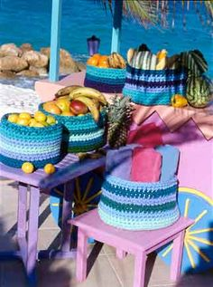 Crafty Crocheted Baskets  Fill these wonderful crocheted  They are definitely Make It Quick patterns. You work with 6 strands of yarn and a large hook.