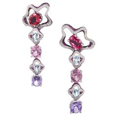French Gemstone Drop Earrings Signed Mauboussin, spinel, diamond, aquamarine and sapphire