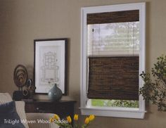 TriLight Shade with pleated sheers on the top and woven wood shades on the bottom.