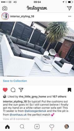 Rattan Corner Sofa Set, Outdoor Furniture Sets, Outdoor Decor, Garden Inspiration, Interior Styling, Cushions, Collection, Home Decor, Interior Decorating