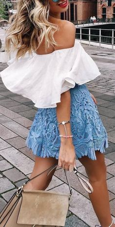 Lace mini skirt + off the shoulder top.