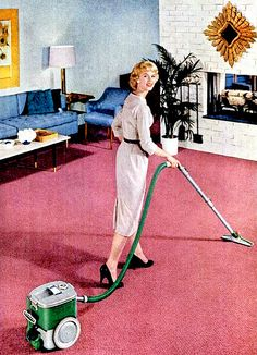 Pink (Color) Image: Housework looks Glamorous when the carpet is pink Carpet Cleaning Business, Carpet Cleaning Company, Carpet Cleaners, Vacuum Cleaners, House Plans With Pictures, Retro Housewife, Cleaning Day, Retro Home, How To Clean Carpet