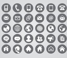 Free social media icons editable in ps design pinterest hera re 23 sets of free contact icons in vector and psd formats that you can use for your websites contact page and business cards reheart Images
