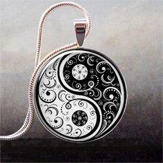 Black and White Yin Yang pendant, Yin Yang necklace charm, Yin Yang jewelery, Oriental jewelry