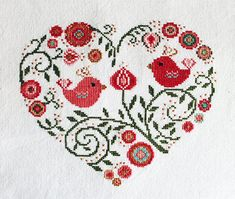 Cross stitch pattern heart needlepoint birds sampler от LaMariaCha