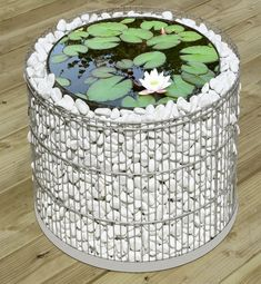 Gabion Planter, w/ built-in pond - This would be so easy to do w/ a 5-gal bucket.  Hmmmmm........