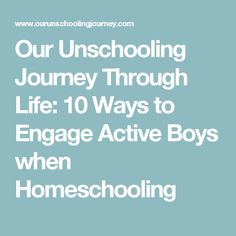 Our Unschooling Journey Through Life: 10 Ways to Engage Active Boys when Homeschooling