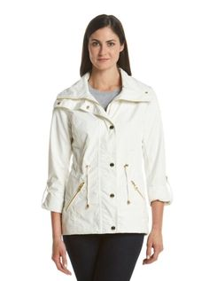 Guess Women's White Hooded Anorak Gold Tone Hardware Size Large | eBay