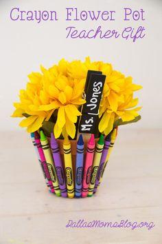 Crayon Flower Pot Teacher Gift from Dallas Moms Blog (citymomsblog.com/dallas)