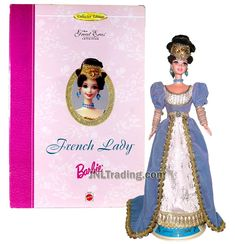 Year 1993 Barbie Collector Edition The Great Eras Series 12 Inch Doll - FRENCH LADY in Elegant Gown with Headpiece, Earrings, Necklace and Doll Stand French Lady, French Royalty, Elegant Gown, William And Mary, Doll Stands, Gowns Of Elegance, Barbie Collector, Wooden Dolls, Barbie Dolls
