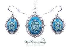 Snowflake Jewelry Set, Glow-in-the-Dark Polymer Clay Jewelry Set, Handmade Jewelry Set, Clay Applique, Clay Embroidery, Wearable Art by WizArtCreations on Etsy