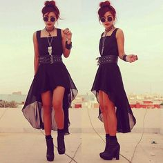 adorable black high-low with chunky black heels