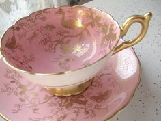 vintage pink and gold tea cup and saucer set, Coalport English bone china tea cup, pink tea set, antique tea cup, gold bird.