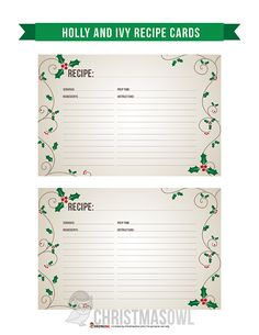 Terrific Free recipe cards printable Strategies In the end of in I became searchingwith regard to a wonderful planner. Need to get looked through many p. Christmas Food Gifts, Christmas Ornaments To Make, Christmas Crafts, Printable Recipe Cards, Recipe Printables, Free Printables, Homemade Recipe Books, Recipe Book Covers, Recipe Sheets