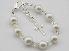 Girls white pearl and crystal first holy communion bracelet jewellery gift.