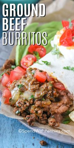 Ground burritos are a quick and easy weeknight meal. Made with taco seaosning, ground beef, and tortilla, this recipe is Beef Burrito Recipe, Pork Carnitas Recipe, Taco Recipe, Recipe For Burritos, Meat Recipes, Mexican Food Recipes, Cooking Recipes, Dinner Recipes, Mexican Desserts
