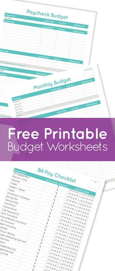 Free Printable Budget Worksheets - Bill Pay Checklist, Monthly Budget & Paycheck Budget