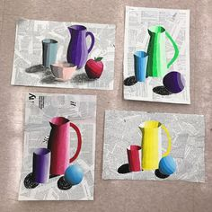 Still-life portraits: my students learned about shadows and light sources, as well as value grids. Grace, Jade, Piper, and Madison-your work blows my away! They turned out beautifully! Middle School Art Projects, High School Art, Kids Art Class, Art For Kids, 7th Grade Art, Grace Art, Value In Art, Atelier D Art, Art Lessons Elementary