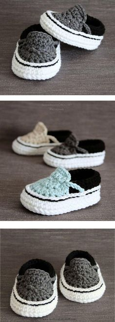 Crochet Baby Booties Crochet PATTERN. Vans style baby sneakers. Instant Download....