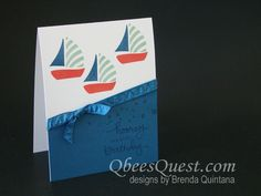 Swirly Bird Sailboat Card | Video Tutorial, CASE-ing Tuesday #52, Swirly Bird Stamp Set, Endless Birthday Wishes Stamp Set,  Birthday Cards, Stampin' Up, Qbee's Quest, Brenda Quintana