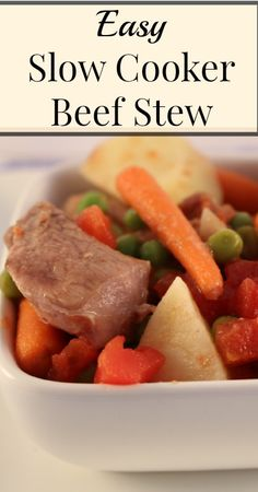 Easy, Hearty Slow Cooker Beef Stew Best Gluten Free Recipes, Paleo Recipes, Real Food Recipes, Frugal Recipes, Cooking Recipes, Recipes Dinner, Delicious Recipes, Healthy Weeknight Meals, Healthy Cooking