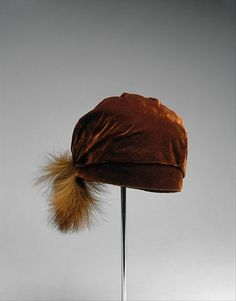 hat - brown velvet with feather,   1924