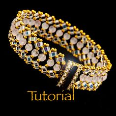 Beadwoven Bracelet Tutorial Luna with seed beads, Half-Tilas, and Gemstones - Instant Digital Download 6.00