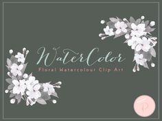 elegant rustic watercolor flowers cliparts