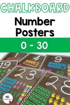 Chalk board number posters from 0 to 30. Each poster includes the digit, word and the number represented in ten frames, finger counting, tallies and unifix cubes. Numbers from 1 to 6 also have the number represented by dice. Great visual representation to help students with number sense, counting, one to one correspondence and more. First Day Of School, Back To School, Chalkboard Numbers, Number Recognition Activities, Number Posters, Primary Resources, Australian Curriculum, Ten Frames, Phonics Activities