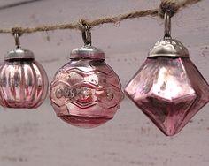 Mercury glass ornament garland in many colors!   www.cutepinkstuff.com