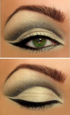 Eye liner with green eyes
