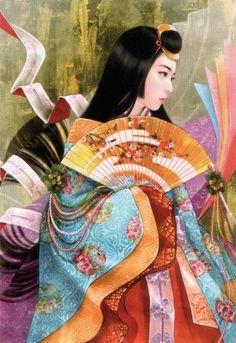 A woman dressed in junihitoe by artist Xujin Yao