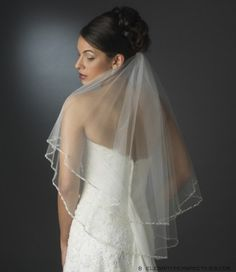 Double Layer Elbow Length Veil with Beaded Pearl Edge