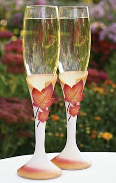 Simply Autumn Maple Leaf Toasting Flutes from Wedding Favors Unlimited Wedding Toasting Glasses, Wedding Champagne Flutes, Toasting Flutes, Bridal Glasses, Champagne Toast, Champagne Glasses, Wedding Reception Decorations, Wedding Themes, Wedding Ideas