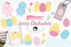 Spring Chickadees graphics and illustrations By Prettygrafik Design