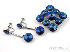 Vintage Signed WEISS Blue Rivoli Rhinestone Brooch & Dangle Clip On Earrings SET