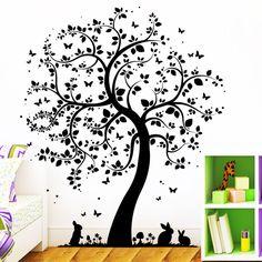 10395Wandtattoo Loft  Baum mit Hasen und Schmetterlingen Wald Tierwelt Eule Hase