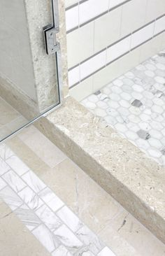 Sarah Richardson bathroom redesign, Gallery 1 - The Globe and Mail - like mix of tile. Sarah Richardson Bathroom, Sarah 101, Bathroom Renos, Bathroom Ideas, Bath Ideas, Bathroom Flooring, Classic Baths, Upstairs Bathrooms, Master Bathroom
