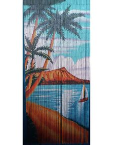 Bamboo beaded door curtain for doorway, window, closet, Sailboat 125 strands Bamboo Room Divider, Room Divider Walls, Room Divider Curtain, Bamboo Beaded Curtains, Beaded Door Curtains, Window Curtains, Tropical Windows, Door Dividers, Bamboo Wall