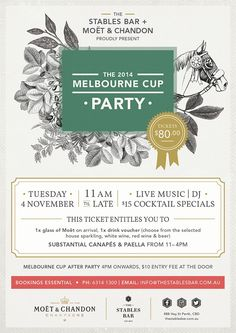 melbourne cup party - Google Search Poster Design Inspiration, Work Inspiration, Stables Bar, Melb Cup, Melbourne Cup Fashion, Spring Racing Carnival, Party Tickets, Wedding Cups, Moet Chandon