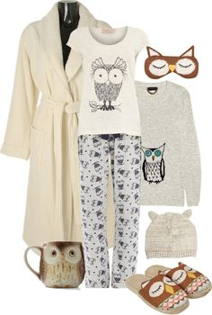 """Who Gives a Hoot"" by sherry7411 on Polyvore what I'd wear in my room"
