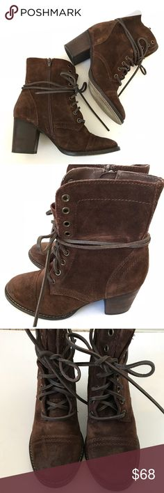 Steve Madden Gretell Heeled Ankle Lace-Up Boots Only worn a few times. Some light distressing where leather laces rubbed against suede. But since these boots already came with a distressed look it blends in. Steve Madden Shoes Ankle Boots & Booties