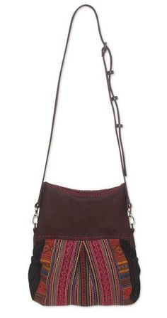 Leather accent cotton shoulder bag, 'Hill Tribe Day' by NOVICA