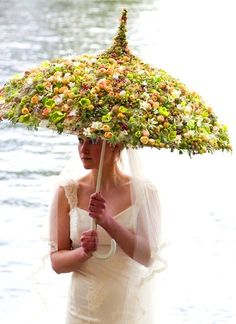 Floral Parasol instead of a traditional bouquet Wedding Dresses With Flowers, Real Flowers, Flower Dresses, Dresses Uk, Floral Flowers, Dried Flowers, Silk Flowers, Florals, Floral Umbrellas