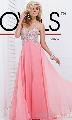 Long Strapless Chiffon Formal Gown at PromGirl.com