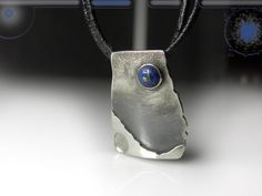 FREE SHIPPING, unique silver pendant with lapis lazuli, industrial jewelry, contemporary