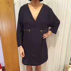 Zara dress Dark blue/off black dress with gold zippers. In perfect condition; never worn. Zara Dresses Long Sleeve
