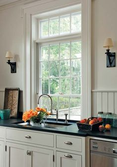 A Greek Revival Expansion & Kitchen window lower than counter solutions:one had stainless pan ... Pezcame.Com