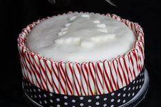 candy cane cake. i like the polka dot ribbon.
