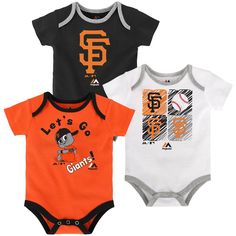 Your tiny fan can show off their San Francisco Giants pride three different ways with this sweet little Onesie set! The shirts are made of a soft and stretchy cotton knit and each one is screen printed with a different design including official Giants team colors and logos. The fold over collar and triple snap closure at the bottom make for quick and easy changes sure to suit Mom & Dad.